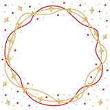 Christmas star beads garland round frame Royalty Free Stock Images