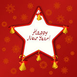 Christmas Star with bells on a red background Stock Images