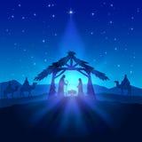 Christmas star and birth of Jesus. Nativity scene, Christmas star on blue sky and birth of Jesus, illustration Stock Photo