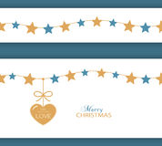 Christmas star border and heart. The Gift of Love Royalty Free Stock Image