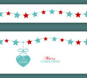 Christmas star border and heart. The Gift of Love Royalty Free Stock Photos