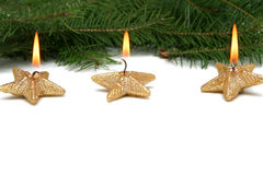 Christmas star candles Royalty Free Stock Photography
