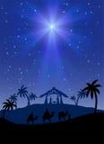 Christmas star. Christian Christmas scene with shining star, illustration royalty free illustration