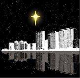 Christmas star and city. An illustrated view of a city skyline at night with reflections and a bright Christmas star in the sky Stock Images