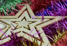 Christmas star closeup and garlands stock photo