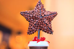 Christmas Star from coffee Royalty Free Stock Photography