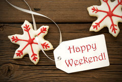Christmas Star Cookies with Happy Weekend Label Royalty Free Stock Images