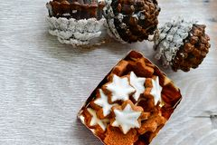 Christmas star cookies. Christmas home made star cookies and pine cones = covered with snow on white woode background royalty free stock image