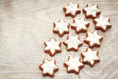 Christmas star cookies. Christmas home made star cookies, top view, place for text stock photo