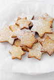 Christmas star cookies on plate. Food closeup Stock Photos