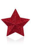 Christmas star decoration. Red glitter star shaped christmas decoration  on white with path Royalty Free Stock Photography