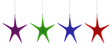Christmas star decorations. Hanging on white background. Xmas star decorations. High quality render Royalty Free Stock Photo