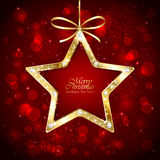Christmas star with diamonds on red background Stock Images
