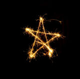 Christmas star from fireworks Royalty Free Stock Photography