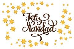 Christmas Star Frame for designing greeting card, holiday poster, banner, celebration invitation. Stars are in flat style. Hand. Drawn lettering Feliz Navidad vector illustration