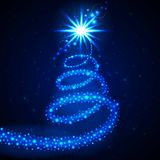 Christmas star background. Christmas star with glowing tail, decorative vector background Royalty Free Stock Photos