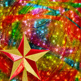 Christmas star on Gold abstract background Royalty Free Stock Image