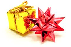 Christmas star and gold gift Stock Images