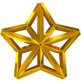 Christmas Star golden 3d isolated Royalty Free Stock Image