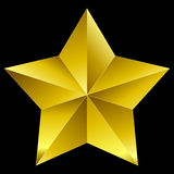 Christmas Star golden isolated on black Royalty Free Stock Photos