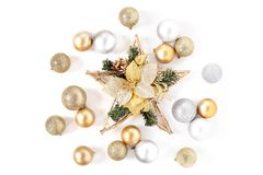 Christmas star, Golden and Silver Balls Top view White Background Christmas. New Year stock images