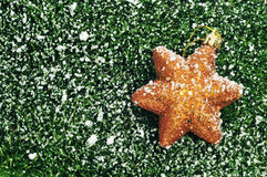 Christmas star on the grass with snow Stock Photo