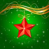 Christmas star on green background. Red Christmas star on green starry background, illustration Royalty Free Stock Images