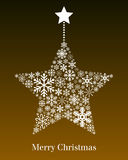 Christmas Star Greeting Card. A Christmas hanging star made up of different snowflakes on brown background. Useful also as greeting card. Eps file available vector illustration