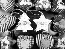 Christmas star hearts and tree black white background. Christmas background with star hearts and tree black and white Stock Images