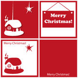 Christmas star and house. Red and white card on a holiday theme Christmas Royalty Free Stock Photo