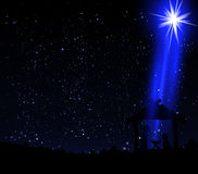 Christmas star on the hut of Jesus Christ Stock Photos