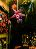 The christmas star in an indien shop in Germany. stock images