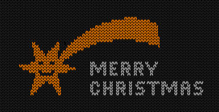 Christmas Star. Knitted picture with comet and the words Merry Christmas, vector illustration Stock Photos