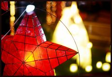 Christmas Star Lantern. A Christmas lantern or Parol, made of Capiz Stock Images