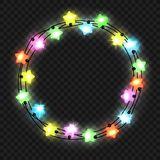 Christmas star light garland on transparent. Christmas star light garland on the transparent background, vector illustration Stock Image