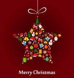Christmas star made of elements. Christmas star made of colourful Christmas elements Royalty Free Stock Image