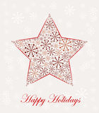 Christmas star made from snowflakes. Vector illustration Royalty Free Stock Images