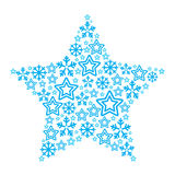 Christmas star made of star and snowflakes icons. Xmas card - blue star made of  elements Stock Image