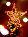 Christmas star with magic bokeh background Royalty Free Stock Images