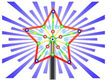 Christmas star on a New Year tree. Computer drawing of a Christmas star on a New Year tree Stock Images