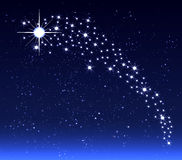 Christmas star in the night sky stock illustration
