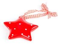 Christmas star ornament of porcelain, Stock Image