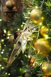 Christmas star and ornaments Royalty Free Stock Images