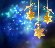 Christmas star ornaments. In the night Stock Photo