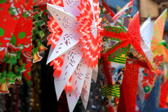 Christmas star paper designs up for sale in the market. Colorful Christmas star paper designs up for sale in the market royalty free stock photography