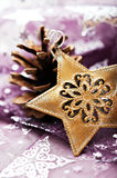 Christmas star and pine cone on table cloth Stock Photo