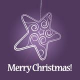 Christmas star on purple background Royalty Free Stock Photography