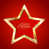 Christmas star on red background Royalty Free Stock Photos