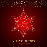 Christmas star on red background Stock Photo