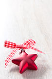 Christmas star red white ribbon Stock Images